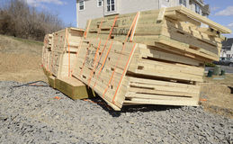 Stack of new lumber ready for a new home construction royalty free stock photo