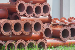 Stack of new metal pipeline. Royalty Free Stock Photography