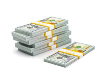 Stack of new new 100 US dollars 2013 edition banknotes (bills) s Stock Photo