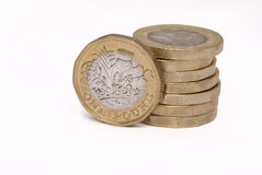 Stack of new pound coins Royalty Free Stock Images