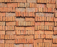 Stack of new red brick Royalty Free Stock Photos