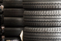 Stack of new tires Stock Image