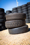 Stack of new tires Stock Photos