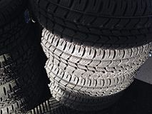 Stack of new tires. Stock Photo