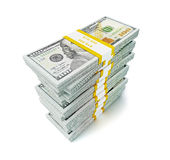 Stack of new 100 US dollars 2013 edition banknotes (bills) s Royalty Free Stock Images