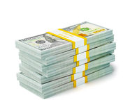 Stack of new 100 US dollars 2013 edition banknotes (bills) s Stock Photo