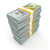 Stack of new 100 US dollars 2013 edition banknotes (bills) s Royalty Free Stock Photo
