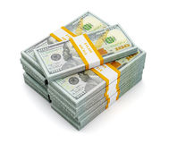 Stack of new 100 US dollars 2013 edition banknotes (bills) s Royalty Free Stock Image