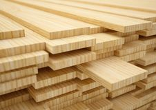 Stack of new wooden planks Stock Photo