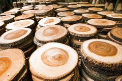 Wood in factory. Stack of new wooden studs in factory stock images