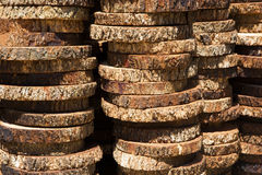 Wood. Stack of new wooden studs with sunlight Stock Photo