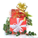 Stack of new year christmas presents gifts Royalty Free Stock Image