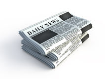 Stack of newspaper. Isolated on white Stock Image