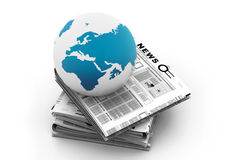 Stack of newspaper with globe Royalty Free Stock Photos