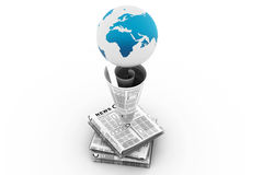 Stack of newspaper with globe Royalty Free Stock Photo