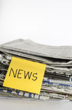 Stack of newspaper write news word Royalty Free Stock Photos