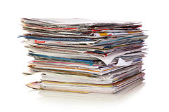 Stack of newspapers. Isolated on white background Stock Photography