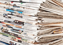 Stack of daily newspapers Royalty Free Stock Image