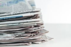 Stack Of Newspapers Horizontal Stock Images