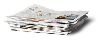 Stack of Newspapers. Stack newspapers recycling isolated knowledge documentation daily news Stock Photos
