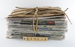 Stack of Newspapers Tied With Twine-Recycle Royalty Free Stock Photos