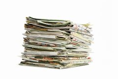 Stack of newspapers. On white background royalty free stock photography