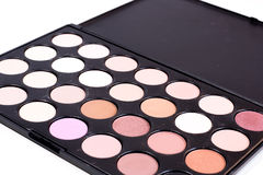 Stack of nice delicate eye shadow colors for make up on a white background Stock Images