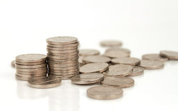 Stack of Nickels. Studio shot of stack of nickels isolated on white background royalty free stock images