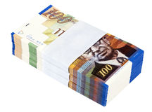 Isolated 100 NIS Bills Stack. A stack of 100 NIS (New Israeli Shekel) money notes, isolated on white background Royalty Free Stock Photos