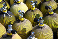 A stack of nitrox air tanks Stock Photos