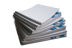 Stack of notebooks with blue stripes for records Royalty Free Stock Image