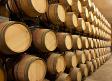Stack of oak wine barrels Stock Photo