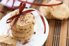 Stack of oat cookies with sesame seeds Royalty Free Stock Photography