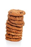 Stack of oatmeal chocolate chip cookies Stock Image