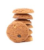 Stack of oatmeal chocolate chip cookies. Royalty Free Stock Image