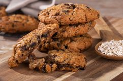 Stack of Oatmeal Raisin Cookies on a Wooden Board Royalty Free Stock Photography