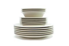 Stack Of Beige Dinner Plates, Soup Plates And Sauc Stock Images
