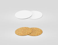 Stack Of Blank White And Cork Textured Beer Coasters Mockup, Stock Photos