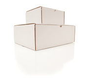 Stack Of Blank White Cardboard Boxes Isolated Royalty Free Stock Photos