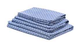 Free Stack Of Blue Cotton Bedding Stock Photography - 198158092