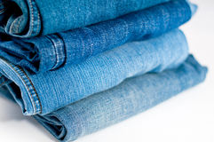 Stack Of Blue Jeans Royalty Free Stock Image