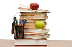Stack Of Books And Apple Stock Photo
