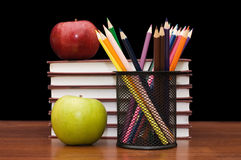 Stack Of Books And Apple Royalty Free Stock Photo