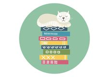 Free Stack Of Books With Sleeping White Cat. Royalty Free Stock Photos - 109040538