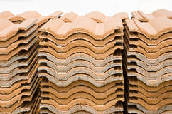 Stack Of Ceramic Roof Tiles. Royalty Free Stock Photos
