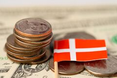 Free Stack Of Coins With Switzerland Flag On US Dollar. Stock Photography - 190804622