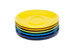Stack Of Colored Ceramic Saucer Stock Photo