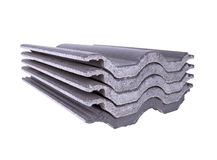 Stack Of Concrete Roof Tile (gray Color) On White Stock Photography