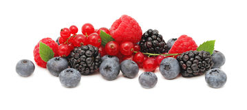 Free Stack Of Different Berries With Green Leaves (isolated) Stock Photos - 54843343