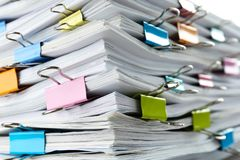 Free Stack Of Documents With Binder Clips As Background Royalty Free Stock Photos - 157883328